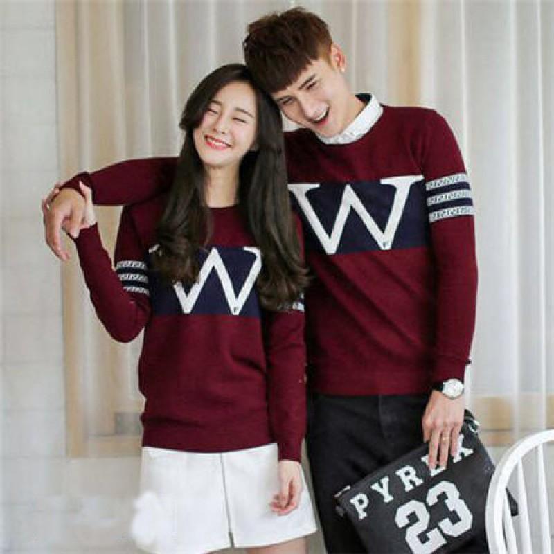 Jual Online Sweater Wonder Merah Couple Murah Jakarta Bahan Babytery Terbaru