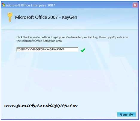 Microsoft Office 2007 Keygen  Cd-key generator ~ Games4Youu