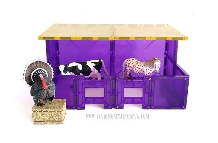 magnetic tiles farm stables with cow and horse