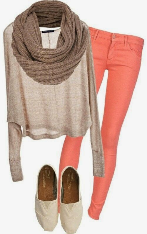 Slim Jeans With Sweater And Scarf