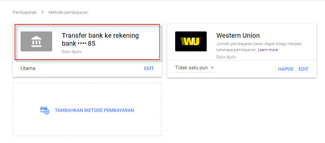 transfer bank adsense