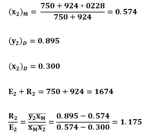 Cálculos para la segunda etapa del ejemplo 2