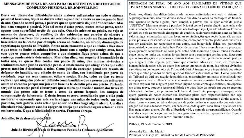 A carta do juiz aos presos e a carta do promotor às famílias das vítimas. Quem tem razão?