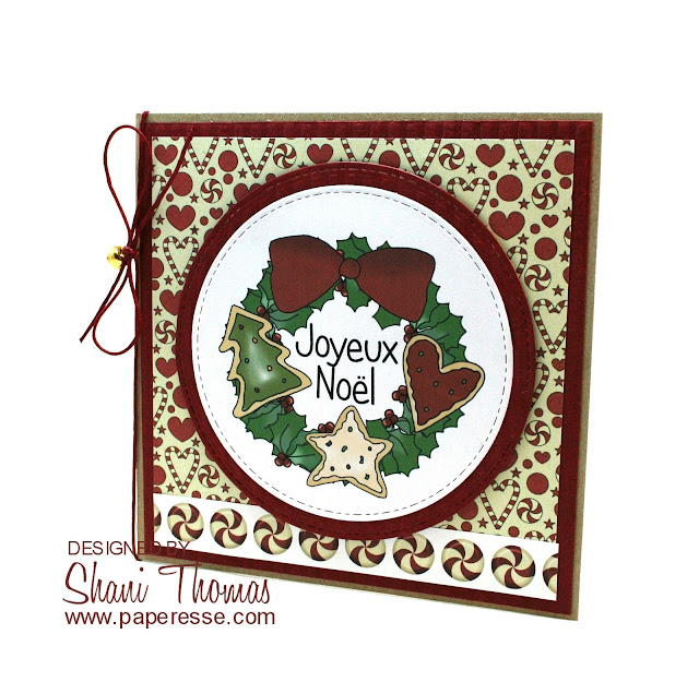 Christmas Wreath card featuring Digi Web Studio Sweet Wreaths topper, by Paperesse.