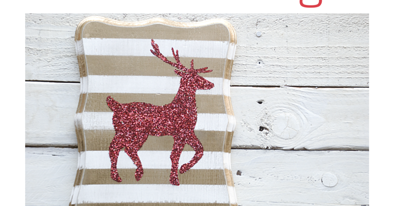 Diy Christmas Glitter Glam Reindeer Sign Vintage Romance