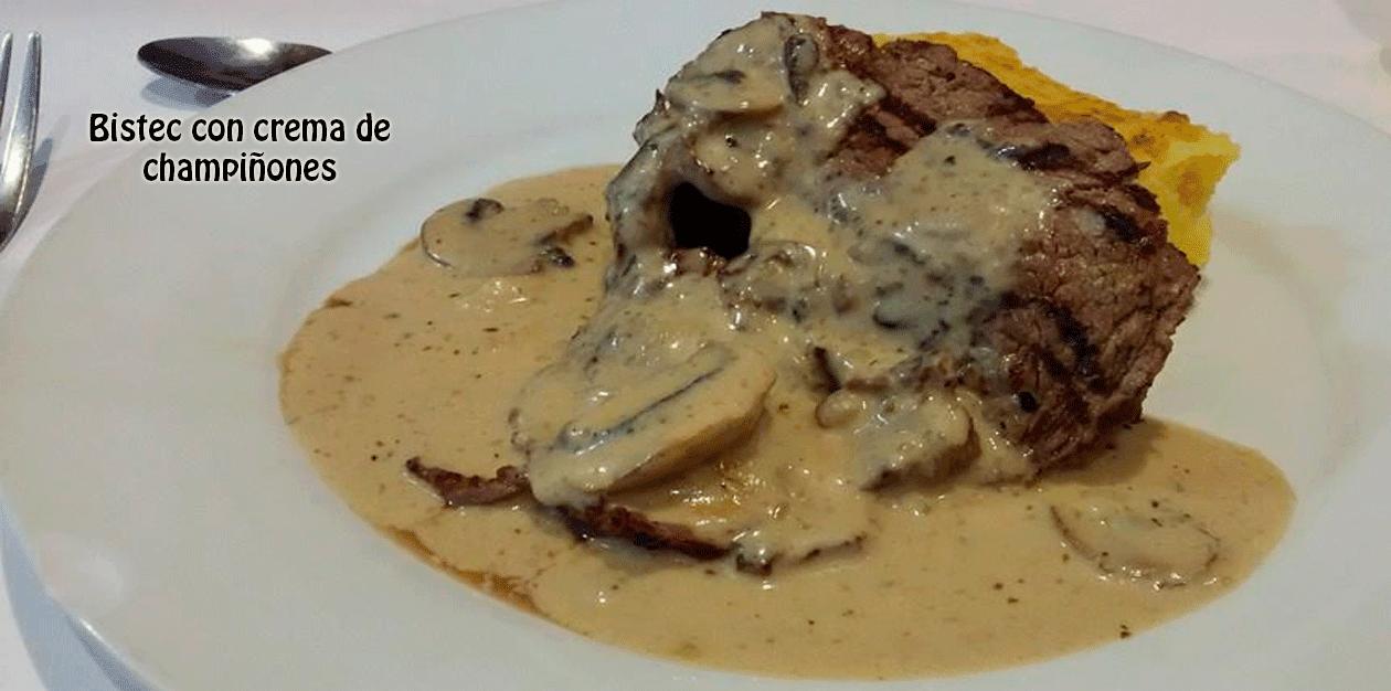 Bistec con crema de  champiñones✅Una deliciosa receta cremosa cubre, humeante y tentadora, a la carne más deseada. Sus sabores deleitarán tu paladar.