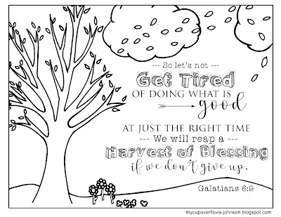 Galatians 6:9 Bible verse coloring page We will reap a harvest of blessing