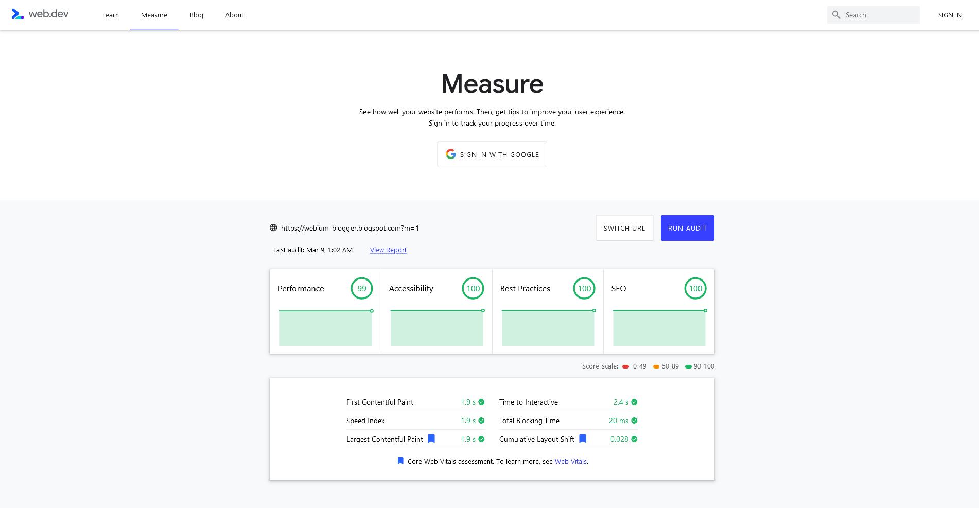 Score Web.dev Insight dengan URL Mobile (dengan akhiran ?m=1) untuk halaman utama (Homepage)