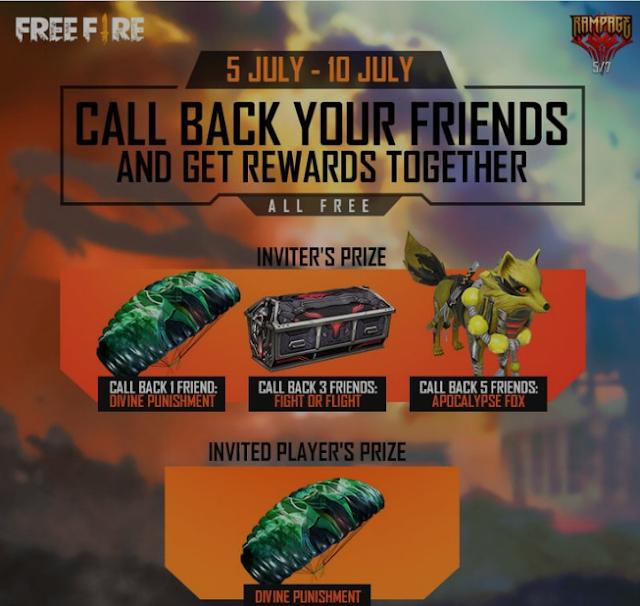 Cara Mendapatkan Hadiah Gratis Menggunakan Call Back Feature di Free Fire 2