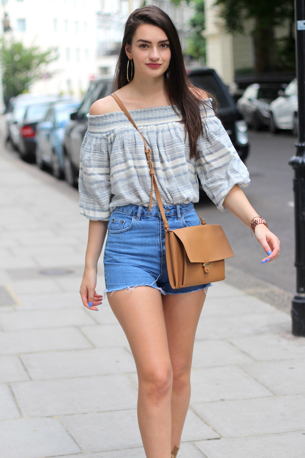 peexo summer style denim shorts bardot top