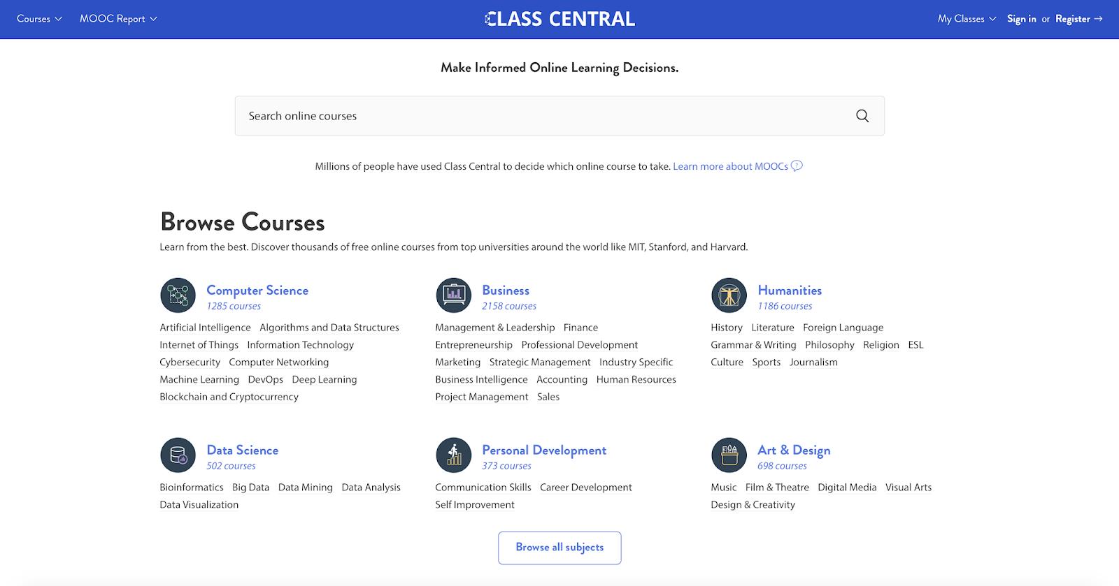Ucretsiz Online Egitimler ClassCentral.com