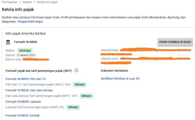 Cara Mengisi Formulir Pajak Adsense Google, Mengisi TIN Asing