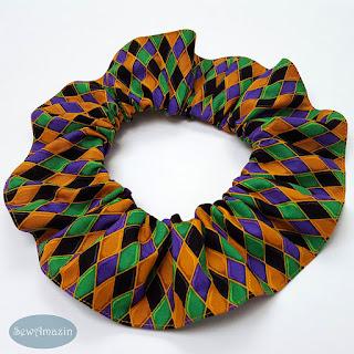 Mardi Gras Harlequin Dog Scrunchie Ruffle