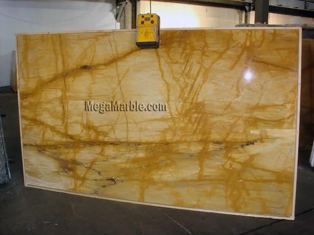 Giallo Siena marble slabs for countertops