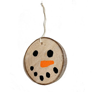 Wood Slice Snowman Ornament