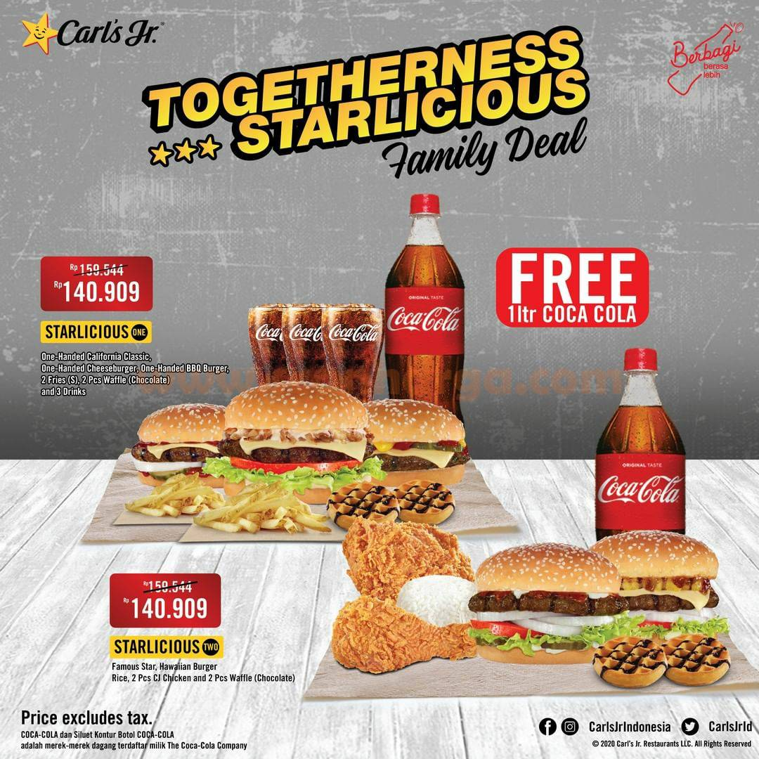 CARLS JR Promo Family Deal package – GRATIS Coca Cola