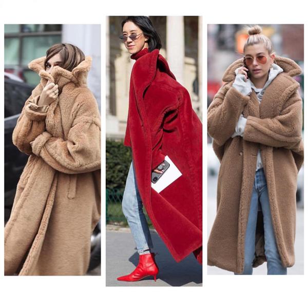 Max Mara teddy bear coat street style outfit