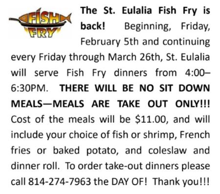 3-5 thru 3-26 St. Eulalia Friday Fish Fry