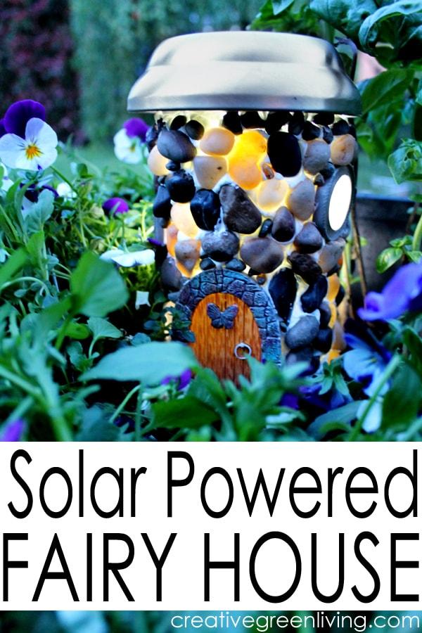 how to make a DIY fairy garden house with a garden light to make it solar powered