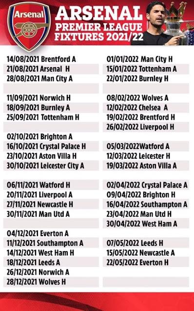 جدول مباريات أرسنال فى الدوري الانجليزي للموسم 2021/2022