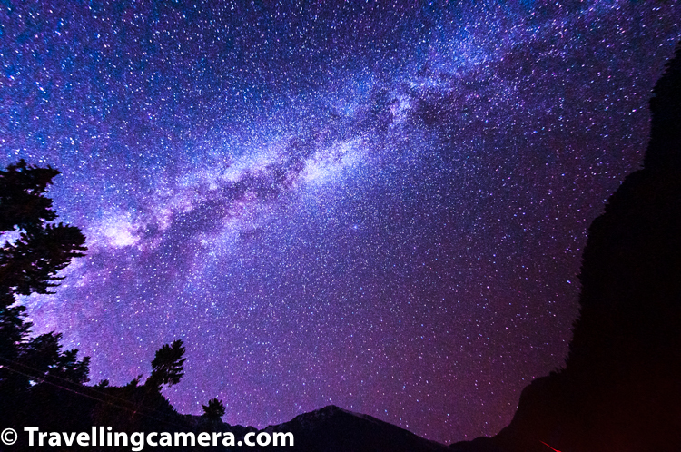 Continuing about Kullu-Sarahan, this photograph shows star studded sky around Sarahan village in Kullu district of Himachal Pradesh. You can see Milky way in this photograph. That was the time when I was not carrying a good tripod. There is always an 'I wish' situation but I was ok that evening given we were having lot of fun around this star studded sky and around bon-fire. Soon after we went inside our tents and tried some local stuff with our favourite Old Monk.