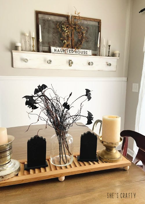 Halloween Home Tour - Halloween mantel and table centerpiece |  She's Crafty