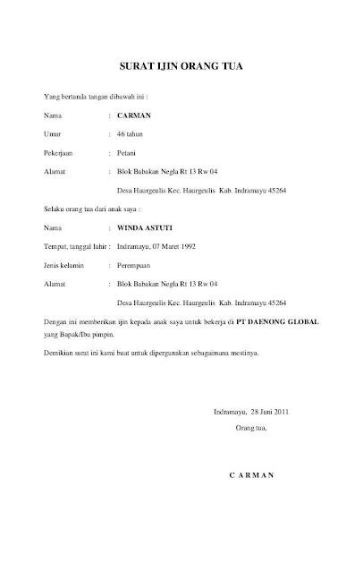 Contoh Surat Izin Orang Tua (via: contohsurat.co)