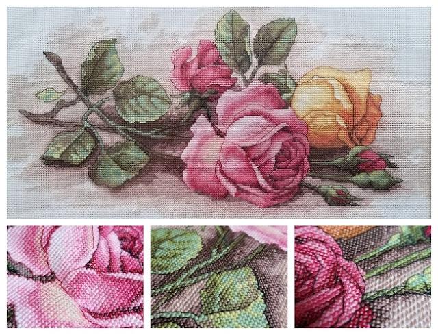 Rose Cuttings Cross Stitch Up Close