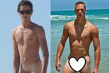 Chicos desnudos tomando el sol en la playa