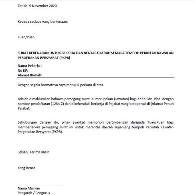 PKPB Contoh Surat Kebenaran Majikan Untuk Rentas Daerah Dan Negeri