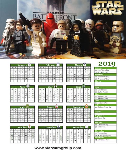Star Wars Calendar 2019