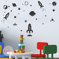vinilo decorativo infantil cohetes espacio dormitorio