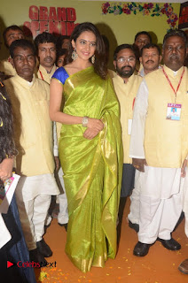 Actress Rakul Preet Singh Pictures in Green Saree at LPT Textile Market Launch  0034