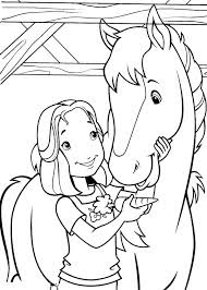 Cute Girl With Horse At Farm Coloring Sheet Images