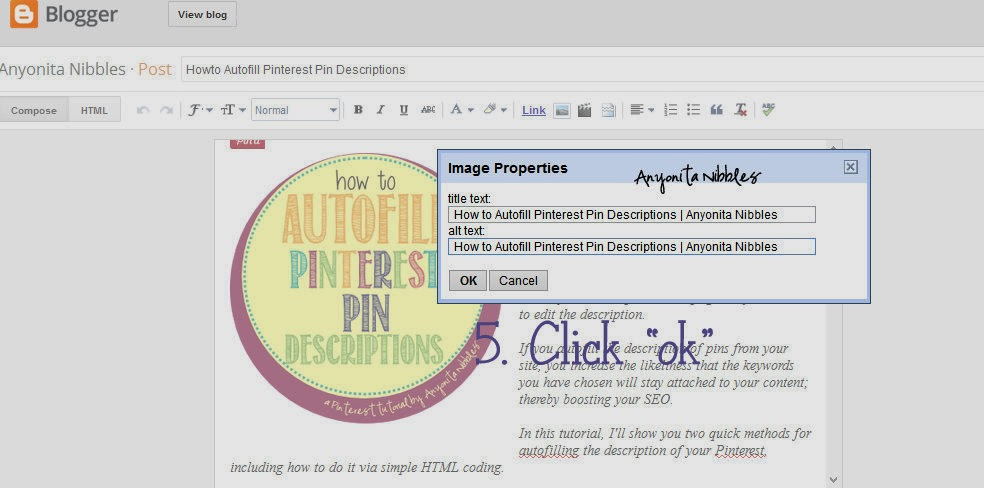 Step 5 in autofilling Pinterest pin descriptions | Anyonita Nibbles