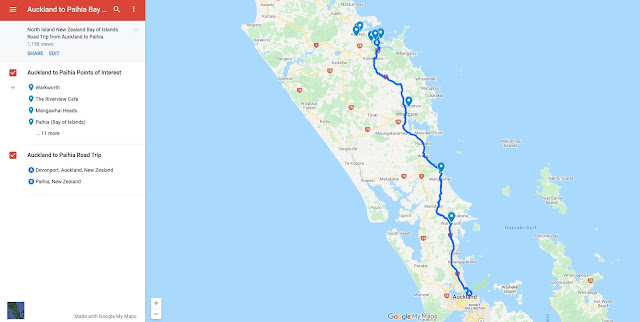 Auckland to Paihia Map