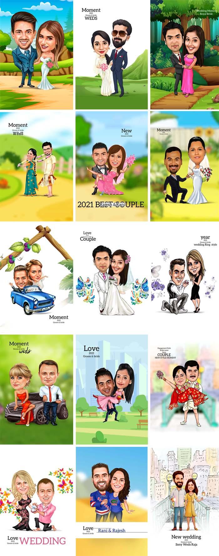 Digital Couple Caricatures Templates