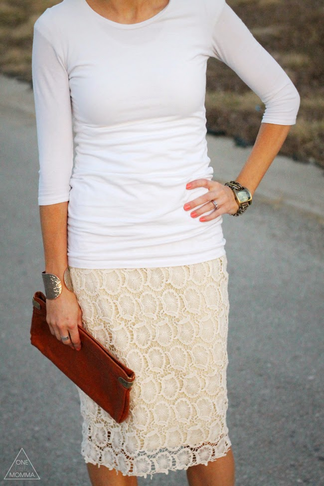 Pair white and cream with nude accessories for a fresh Spring look