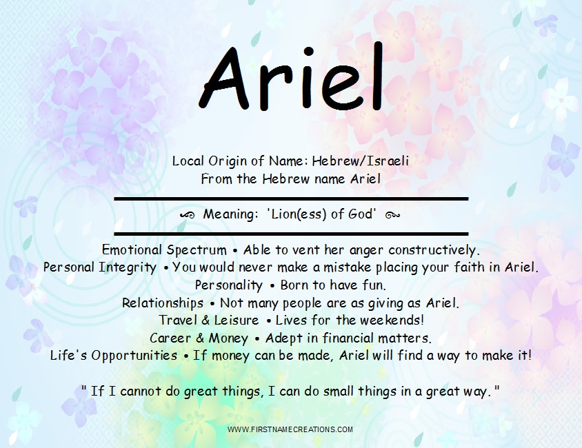 Ariel Name Meaning And Analysis ~ First Name Creations