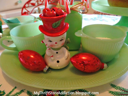Friday's Find: A Snowman Tea for Two mythriftstoreaddiction.blogspot.com A snowman tea party tablescape created with thrifted finds
