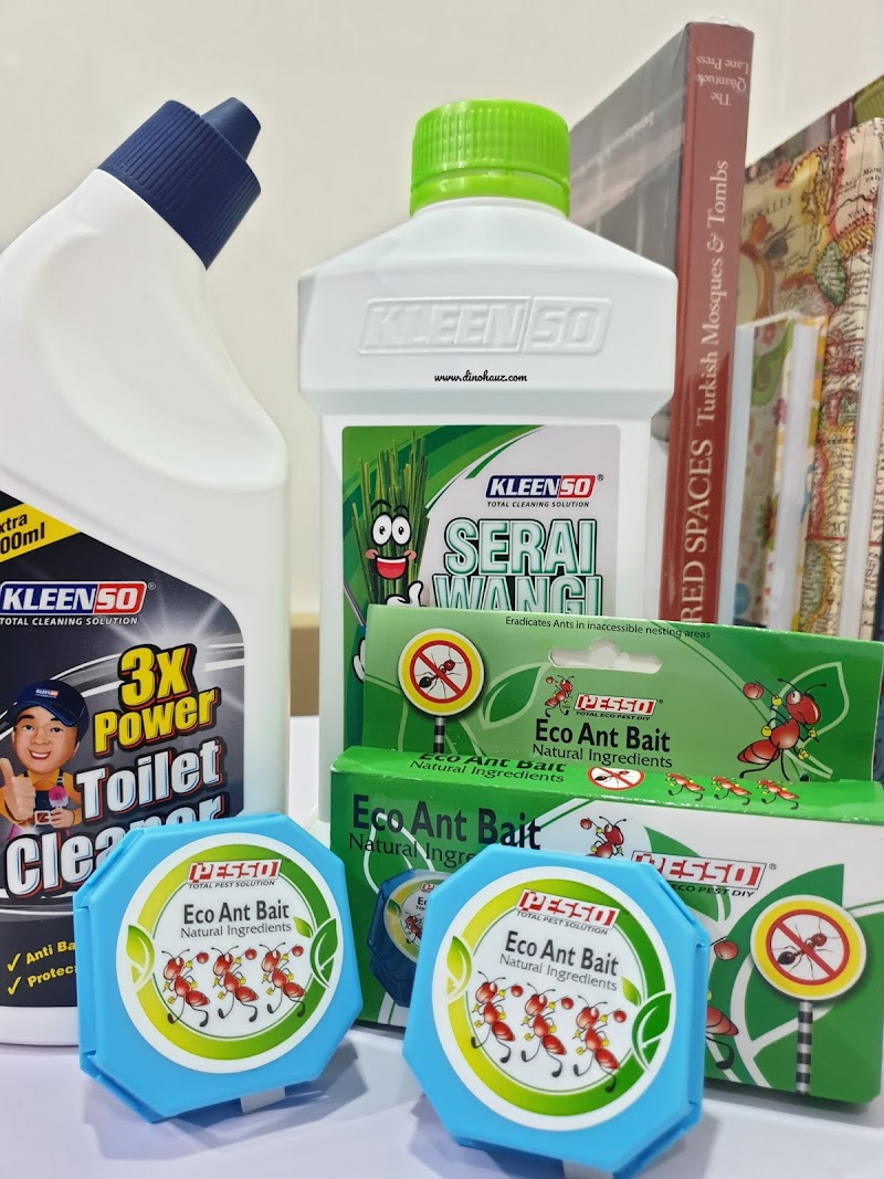 Dapatkan Produk Kleenso Secara Atas Talian: Kleenso Serai Wangi Liquid Wax Floor Cleaner, Kleenso 3x Power Toilet Bowl Cleaner dan Pesco Eco Ant Bait