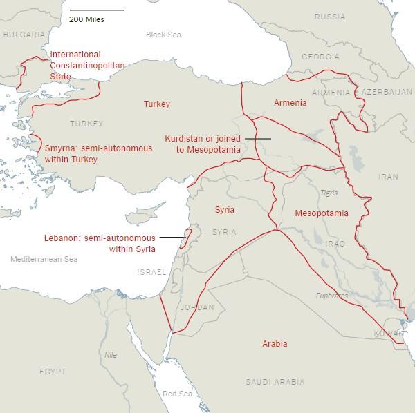 Χάρτης διάσπασης της Τουρκίας από τους New York Times