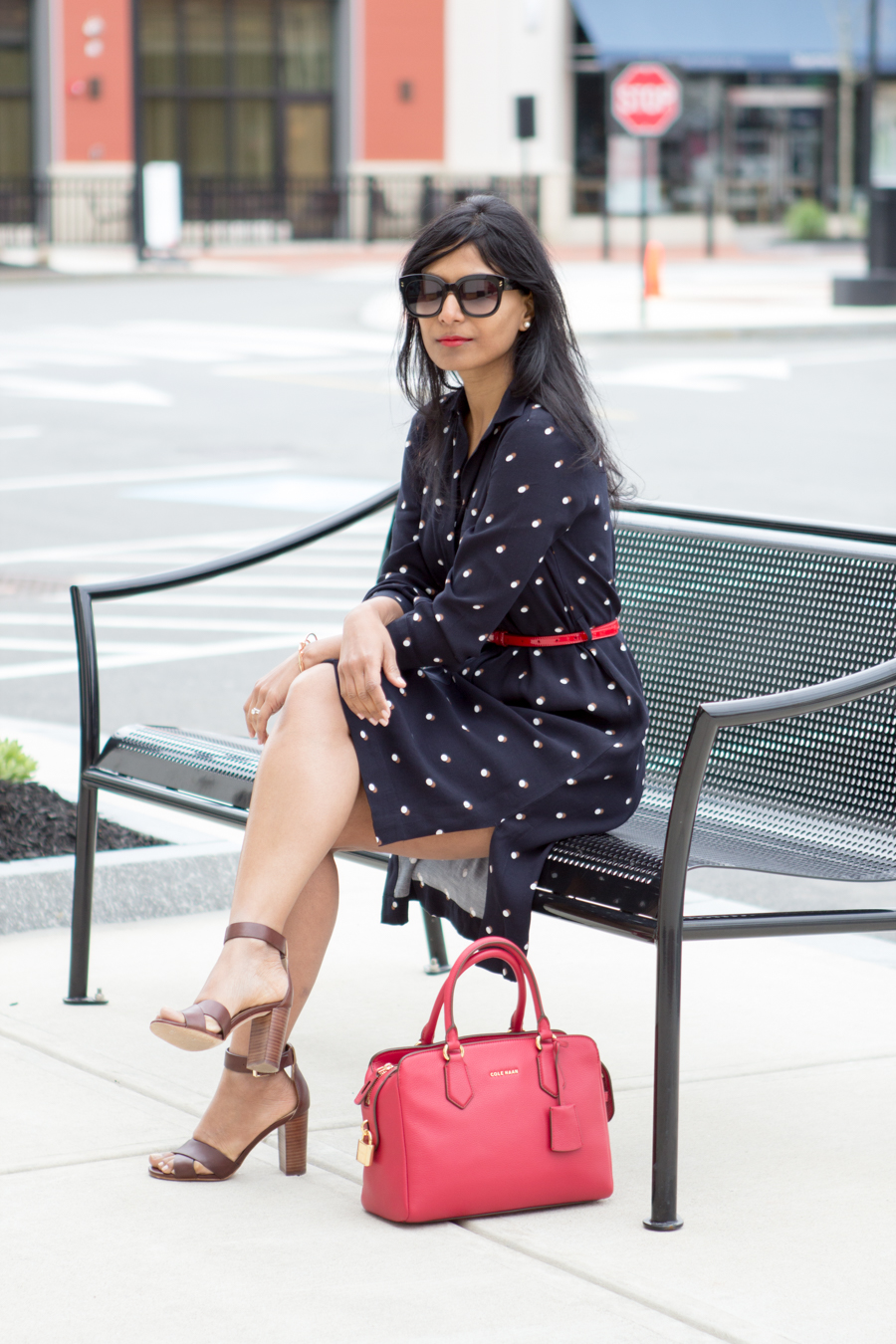 office style, work style, career woman, dress for success, corporate fashion, 9 to 5 style, office style, work wear, women's wear, petite fashion, ann taylor, block heels, brown sandals, satchel, red satchel, bright accents, work break, taking a break