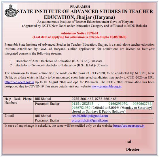 image: Prarambh School for Teacher Education, Jhajjar, Haryana Admission 2020-24 @ Haryana-Education-News.com