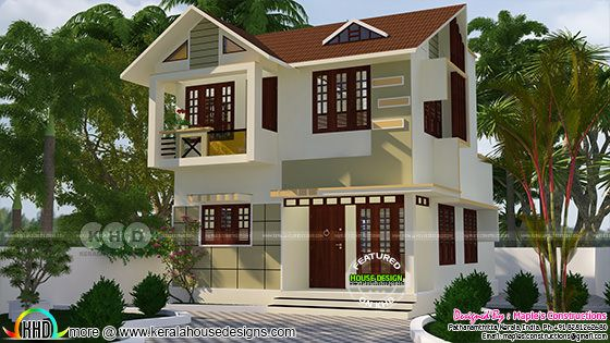 1016 square feet 3 bedroom modern sloping roof home