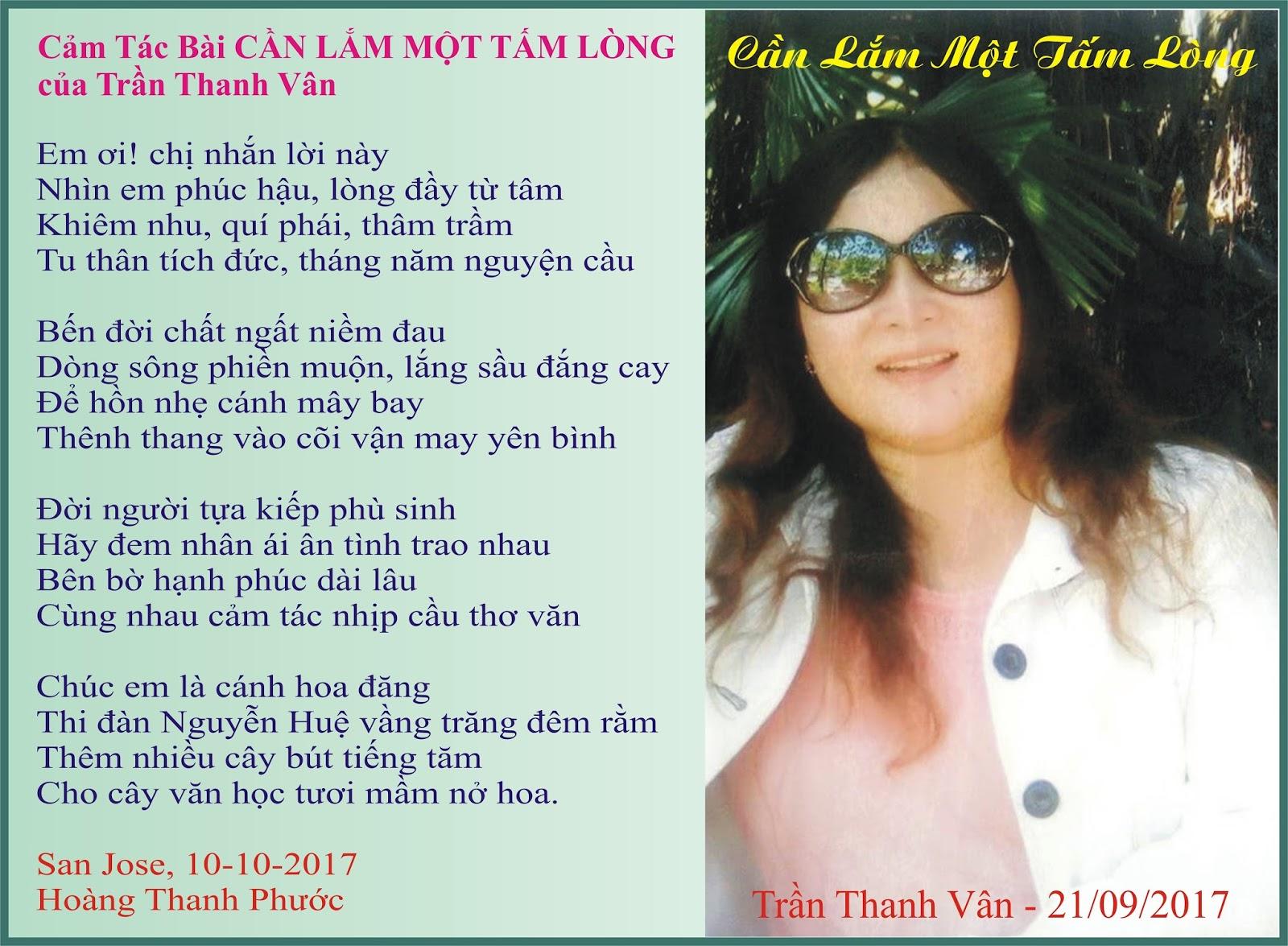 Nguyễn Huệ Hải Ngoại: Cảm Tác Bài Cần Lắm Một Tấm Lòng