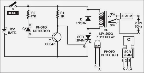 laser intruder alarm circuit