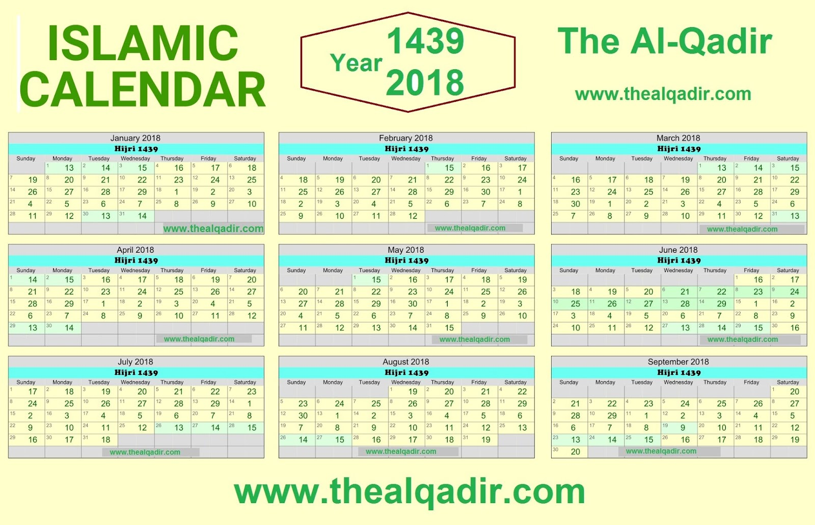 islamic calendar 2018 hijri gregorian by thealqadir the al qadir