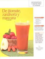 Jugos saludables jitomate zanahoria y manzana