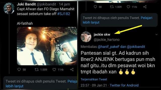 Biadab! Bukannya Berbela Sungkawa, Pria ini Malah Sebut Pilot Sriwijaya Air 'Kadrun' karena Selalu Berpeci Putih